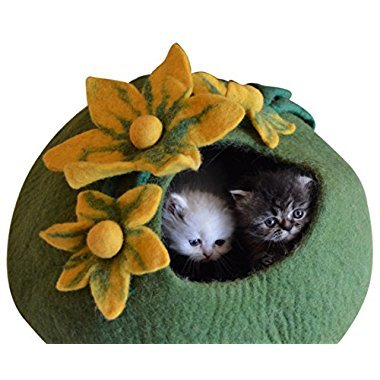 Best Cat Cave Bed, Unique Handmade Natural Felted Merino Wool, Large Covered and Cozy, Also Perfect for Kittens, Includes Bonus Catnip, Original Cat Caves, By Earthtone Solutions (Emerald Haven)