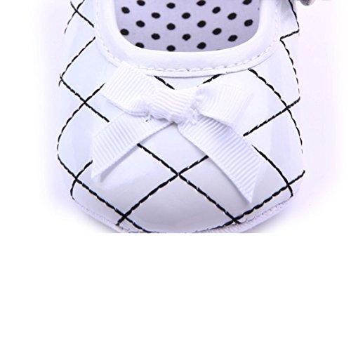 LEORX Chicas de Lindo Bebé Bowknot Decoración Prewalkers PU Zapatos Con Correas (Blanco)