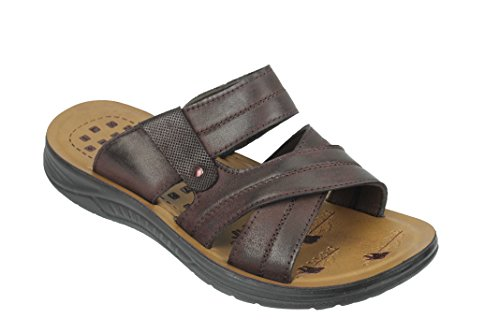 7 Straps Cross 6 Größe 8 10 Pantoffeln Schwarz Echtleder Braun Jesus 9 Dunkelbraun Sandalen Herren Walking IwHqUPpx