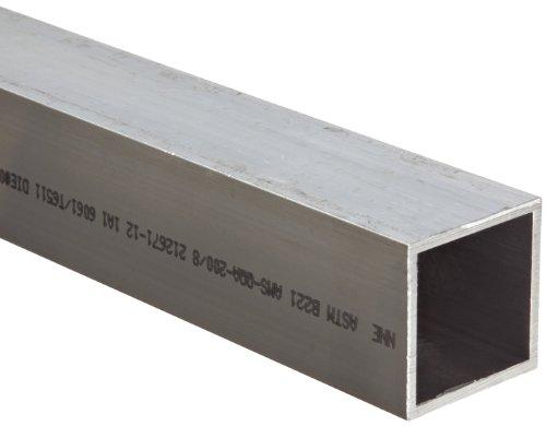 "Aluminum 6061-T6 Hollow Rectangular Bar, AMS QQ-A-200/8, ASTM B221, 2""x2"", 0.125"" Wall, 72"" Length"