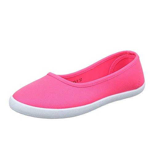 Ital-Design Damen Schuhe, 943-Y-1, Halbschuhe Slipper Freizeitschuhe Pink