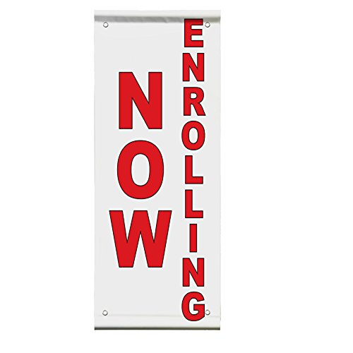 Now Enrolling Red Double Sided Vertical Pole Banner Sign 30 in x 60 in