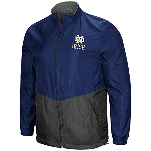 Fleece Notre Dame Irish Jacket - Colosseum NCAA Men's Halfback Reversible Full Zip Fleece Jacket, University of Notre Dame Fighting Irish Medium
