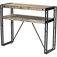 Heather Ann Creations W22367-MGW 31.5 Acacia Wood and Brown Metal Finish Granger Collection Handmade Rustic Industrial Style Console Table Writing Desk