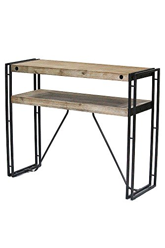Heather Ann Creations W22367-MGW 31.5'' Acacia Wood and Brown Metal Finish Granger Collection Handmade Rustic Industrial Style Console Table Writing Desk by Heather Ann Creations