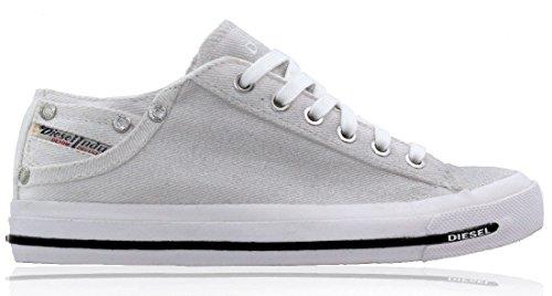 Chaussures Femme Glitter Diesel Style Blanc Argent Bas Baskets rwrI4O