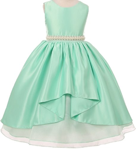 Big Girls' Unbalanced High Front Satin Flowers Girls Dresses Mint 10 (K63K86) - Beaded Strap Charmeuse Dress