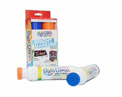 Glass Chalk - The Original Patented Indoor/Outdoor Temporary Paint Marker for Auto Windows and Glass Surfaces, Sponge-Tip, Assorted Colors, Blue and Orange, 2 (Banner Paint Brush)