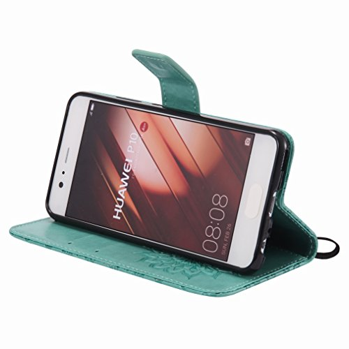 Yiizy Huawei P10 Custodia Cover, Sole Petali Design Sottile Flip Portafoglio PU Pelle Cuoio Copertura Shell Case Slot Schede Cavalletto Stile Libro Bumper Protettivo Borsa (Verde)