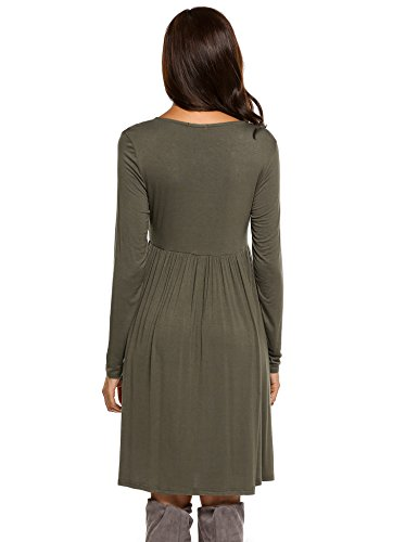 Women's Women's Olive Sleeve T Tunic Elastic Casual Beyove shirt Dress Green Waist Long ZO4wg5qd