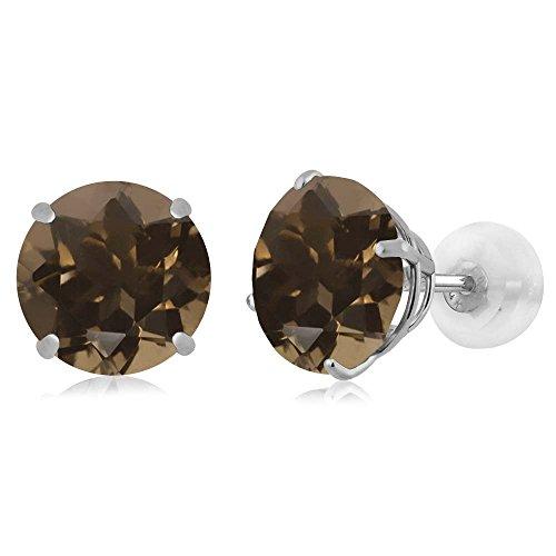 3.40 Ct Round Brown Smoky Quartz 14K White Gold Earrings