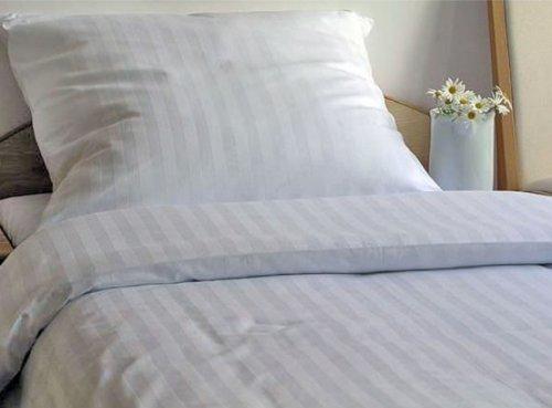 Genieße den Schlaf 4260216519963 Bettwäsche Set, 200 x 220 cm, 3-teilig, Damast Mako-Satin aus 100% Baumwolle, weiß