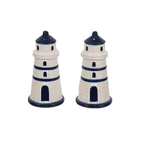 DEI 21080 Lighthouse Salt and Pepper Shakers, White & Navy