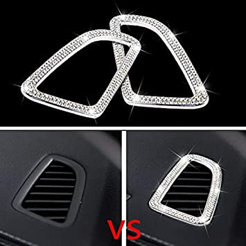 Bling Car Interior Rhinestone Decals Sticker Air Conditioning Outlet Decorative Cover Suitable for Mercedes-Benz C Class C200 C260 C300 C180 GLC260 GLC200 GLC 220 GLC300 2015 - 2018 Car Styling 2 piec YUWATON