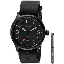 AVI-8 Men's 'Flyboy' Japanese Automatic Stainless Steel and Leather Aviator Watch, Color:Black (Model: AV-4021-0F)