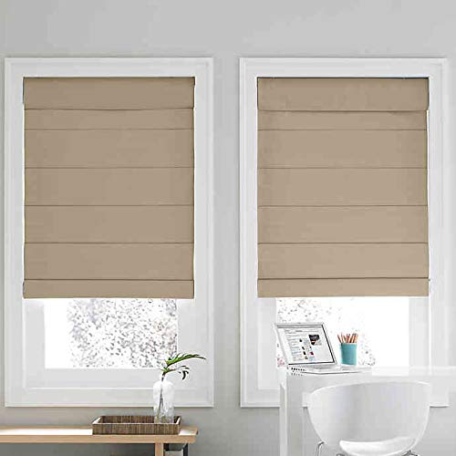 Real Simple Cordless Roman Cellular Shade (Khaki, 27″ X 72″)