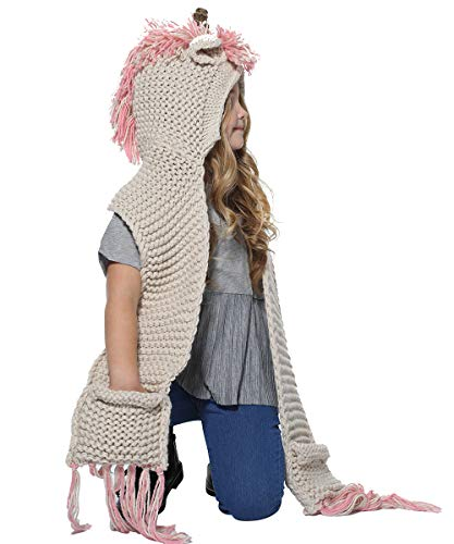 SENSERISE Winter Kids Warm Animal Hats Knitted Hood Scarf Beanies 1 Pink Unicorn(3-10years Old) (Christmas 5 Ideas Year For Old)
