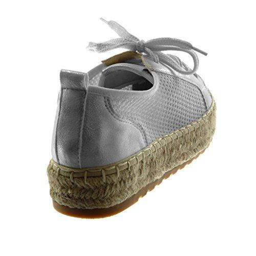 Angkorly Corde Plat Espadrille Plateforme Baskets Mode 3 5 Chaussure Brillant Talon Perforée cm Femme nvWxnaB