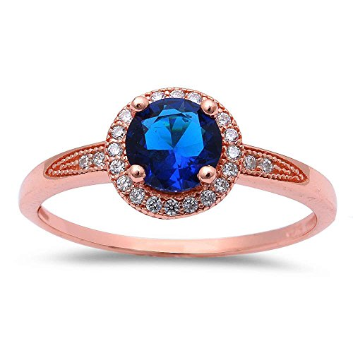 Oxford Diamond Co Rose Gold Plated Halo Simulated Blue Sapphire Cubic Zirconia .925 Sterling Silver Ring Sizes -