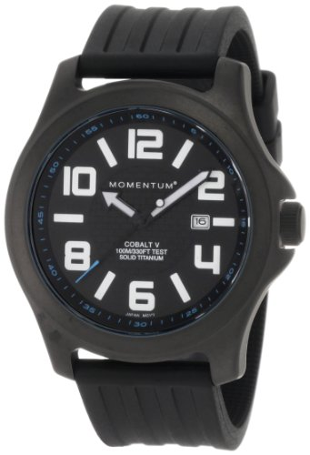 Momentum Men's 1M-SP06B1B Cobalt V Black Ribbed Rubber Watch