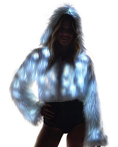 iHeartRaves Solid Light Up Rave Fur Jacket (White LED),One Size Faux Fur Cropped