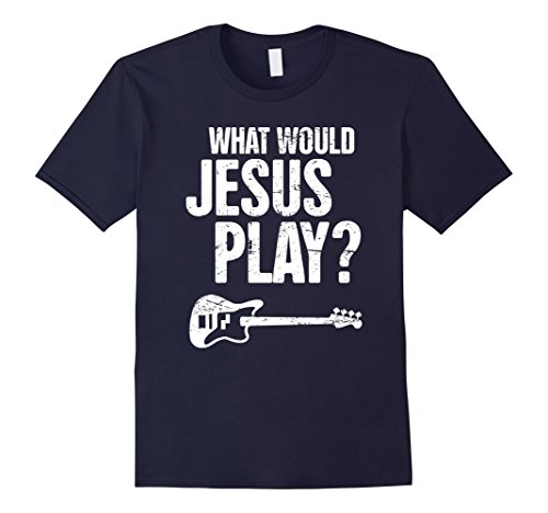 Mens Funny Bass Christian Music T-Shirt XL Navy -