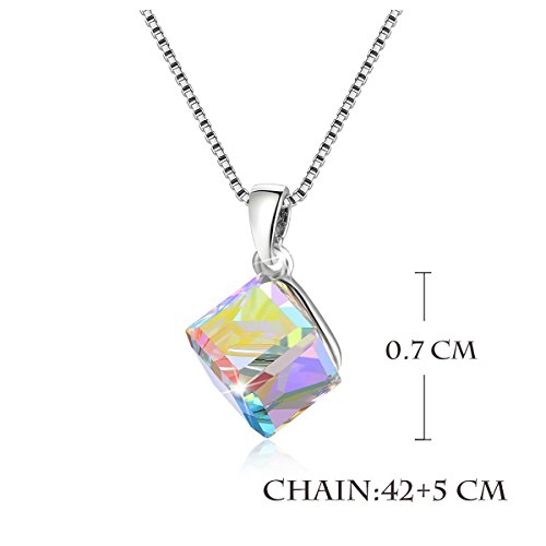 Kesaplan White 7mm-Square Crystal Jewlry Set With Allergen Free, Crystals From Swarovski by KesaPlan (Image #4)