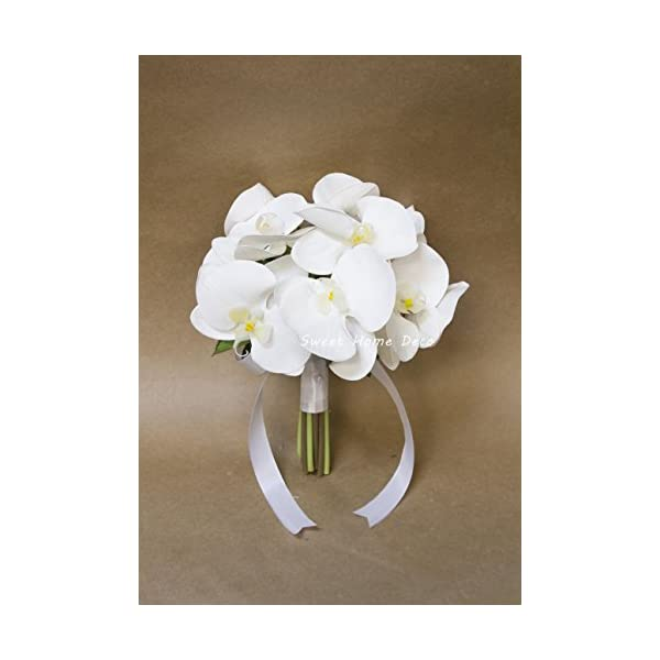 "Sweet Home Deco 8""W Silk White Floral Wedding Bouquet Bridal Bouquet Bridesmaid Bouquet Boutonniere (White-Orchid Bouquet)"