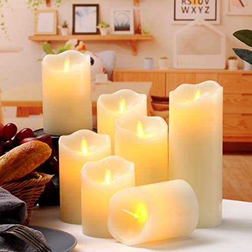 Flameless Candles Flickering LED Candles Set of 7 D 3 X H 4 4 5 5 6 7 8 Ivory Real Wax Pillar Battery Operated Candles with Dancing LED Flame 10-Key Remote and Cycling 24 Hours Timer