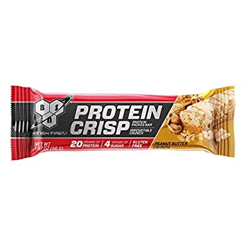 BSN Protein Crisp Bar by Syntha-6, Low Sugar Whey Protein Bar, 20g of Protein, Peanut Butter Crunch, 12 Count Packaging may vary