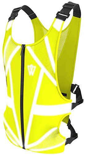 Hi Vis Zipper Vest (GlowONme Reflective Running Vest - Reflective Gear for Running, Cycling, Jogging, Walking, Outdoor Sports, Motorcycle | Adjustable | Front Zipper | Large Back Pocket For All Phones - for Men and Women)