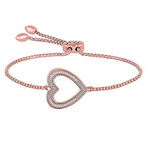 Rhythm & Muse .05ctw Diamond Heart Adjustable Bracelet (rose-gold-flashed-silver)