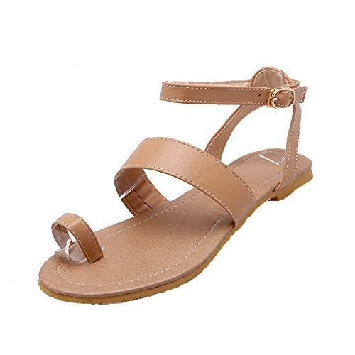 Heels Soft Sandals Womens Toe Split AalarDom Buckle Low apricot Solid Materials xw6fIwq