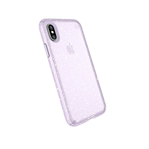 Speck Products Compatible Phone Case for Apple iPhone Xs and iPhone X, Presidio Clear + Glitter Case, Geode Purple Gold Glitter/Geode Purple