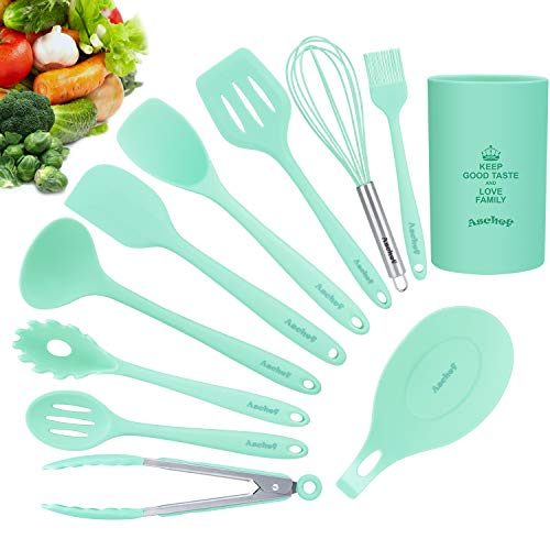 11in1 Silicone Cooking Kitchen Utensils Set, Cooking Tool BPA Free Non Toxic Silicone Turner Tongs Spatula Spoon Kitchen Gadgets Utensil Kit for Nonstick Cookware (Green)