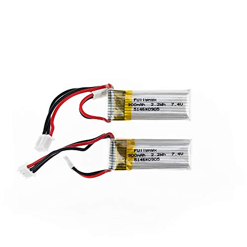2 pcs 7.4V 300mAh 20C Lipo Battery for WLtoys F959 Sky-King RC Airplane Spare Parts ()