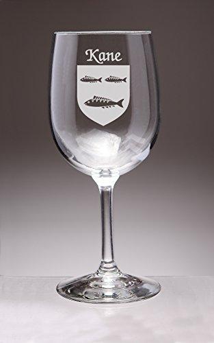 Kane Irish Coat of Arms Wine Glasses - Set of 4 (Sand Etched)