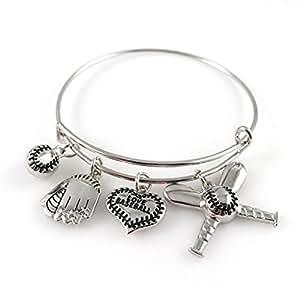 Baseball Bangle Bracelet - Adjustable Silver Jewelry for Moms Fans