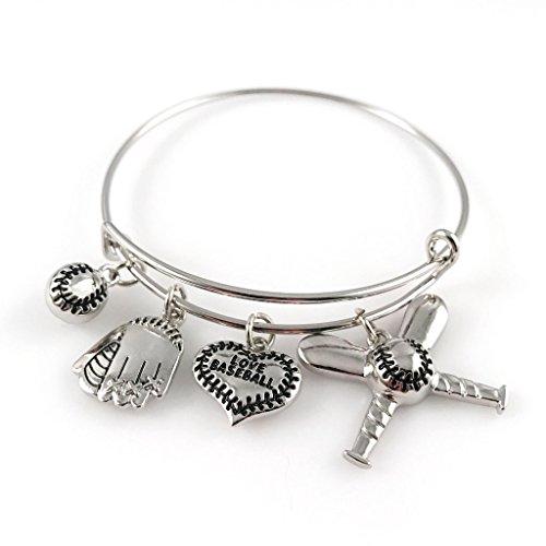 Baseball Bangle Bracelet - Adjustable Silver Jewelry for Moms - Baseball Bracelet Charm