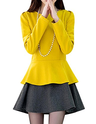 VENTELAN Women's Cute Long Sleeve Flounced Ruffles Matching Crew Neck Dress