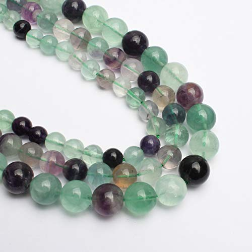 Yochus 6mm Colorful Fluorite Round Loose Beads Natural Stone Beads for Jewelry Making