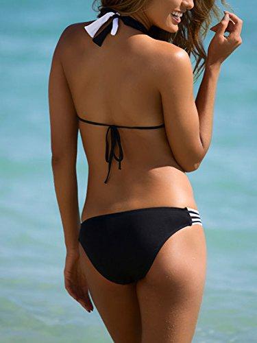 Simplee Apparel La mujer traje de baño verano playa acolchado 2 piezas halter Push Up Triangle Bikini traje de baño negro Negro