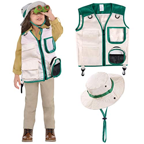 - Safari Costume Cargo Vest and Hat for Kids, Outdoor Explorer Kits and Role Play for Park Ranger, Paleontologist, Zookeeper, Jane Goodall Costume,Great Backyard Safari Gift for Adventure Boys and Girls