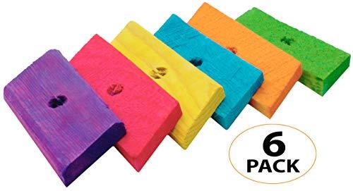(Bonka Bird Toys 970 PK6 Oblong Wood Slats Parrot Foot Craft Talon Cage Part Toy )