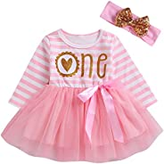 Imcute Baby Girls First Birthday Dress Donut Pink Bowknot Tulle Tutu Dress and Headband Outfit Set Two Piece