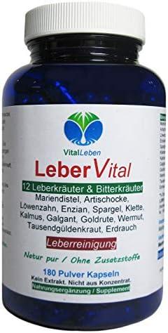 Leber Vital 12 Leberkräuter & Bitterstoffe 180 Kräuter Kapseln. Leber Reinigung & Entgiftung unterstützen NATUR pur OHNE Zusatzstoffe. 26471-180