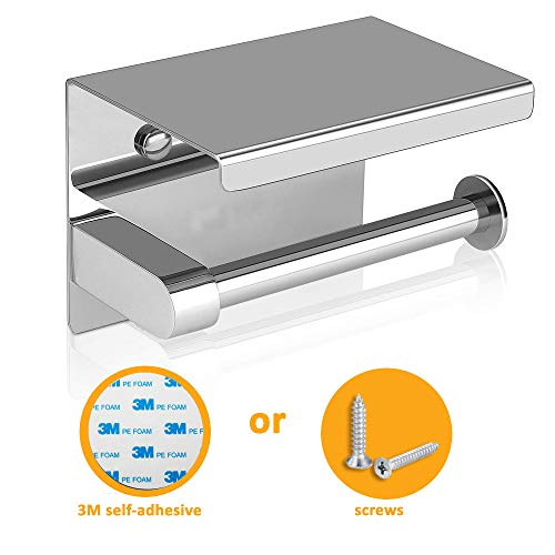 Toilet Paper Holder with Shelf, Tissue Roll Dispenser with Mobile Phone Storage Shelf, Stainless Steel, 3M Adhesive No Drilling or Wall-Mounted with Screws - Polished Chrome