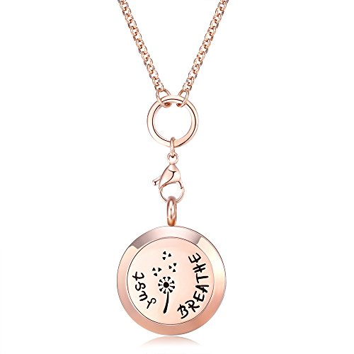 (Mesinya Rose Gold Color Just Breathe Aromatherapy / Essential Oils surgical S.Steel Diffuser Locket pendant Necklace (32inch)