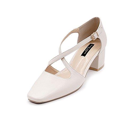 Ladies Square Sandals Baotou with Shoes Color Shoes Summer 37 Beige Head Roman Elegant Rough High Size Heels TxzwqgqYI