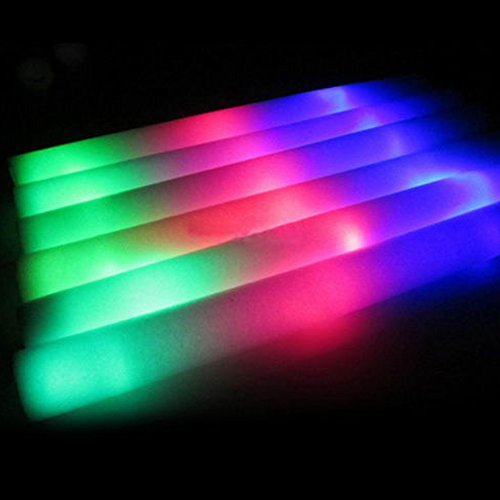 "30 Pcs Foam Sticks Light-Up Colorful LED Wands Rally DJ Flashing Glow Stick Festival, Concerts, Raves, Weddings 48 x 4cm (18.8"" x 1.6"")"